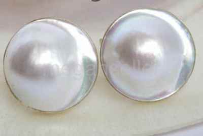Stunning 19mm white South Sea Mabe Pearl Earrings 14K s