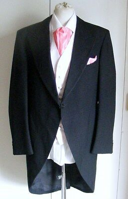 Nicolini wool modern black morning coat tailcoat wedding formal COAT ONLY 48R