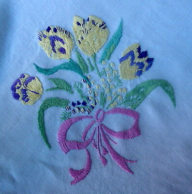Vintage Hand Embroidered Tied Bouquets of Tulips Tablecloth