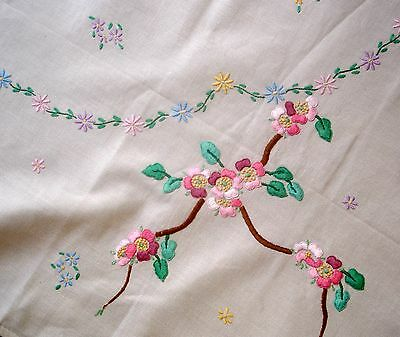 Vintage Hand Embroidered Pink Cherry Blossom Linen Tablecloth