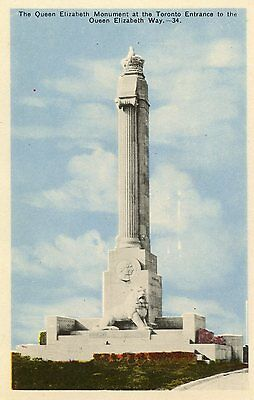 Early Postcard The Queen Elizabeth Monument, Toronto, Canada