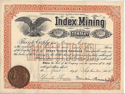 Index  Mining Company..........1904 Common Stock Certificate