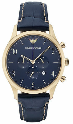 Emporio Armani AR1862 Classic Blue Leather Gold Chrono Mens Watch Nuevo