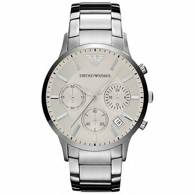 Emporio Armani AR2458 Classic Silver Chrono Stainless Steel Mens Watch Nuevo