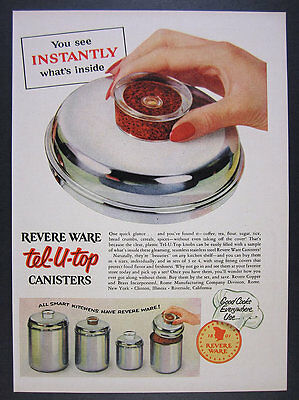 1955 Revere Ware Tel-U-Top Coffee Flour Sugar Canisters photo vintage print Ad