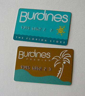 Defunct Vintage Burdines Department Store, Fl Usa Credit Charge Cards Circa 1989