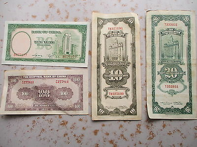 Four Pieces Central Bank of China Paper Currency - 1930, 1937, 1941
