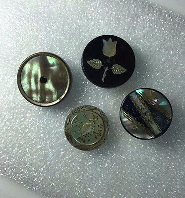 Four 4 Antique 19th C Pearl Shell Buttons/ Inlay / Paris Whistle/ Engraved