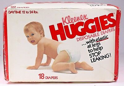 Vintage Huggies Diapers pack of 18 sealed box from 1978 plastic thick daytime