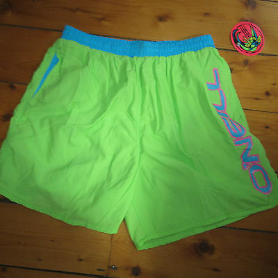 vtg NOS mens 34 to 36 O'NEILL day-glo Surfer lined SWIM SUIT Trunks Boardshorts