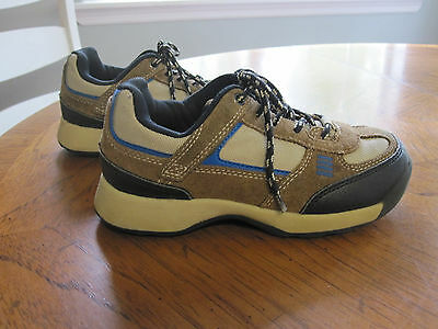Land's End Boys size 12 hiking/trail/casual shoes tan/brown/blue/black VGC