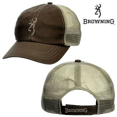 Browning Trouter Trucker Hat Cap Mesh back Brown / Tan new Hunting - Fishing 010