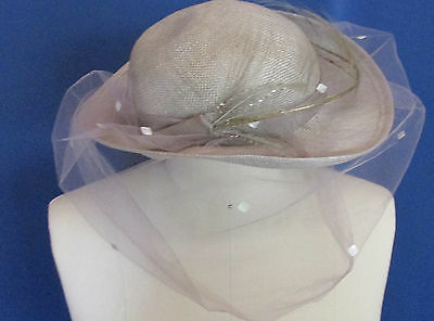 Fedora Vintage Gray Hat Faux Straw Veiled with Tiny Sequins Feather Brim