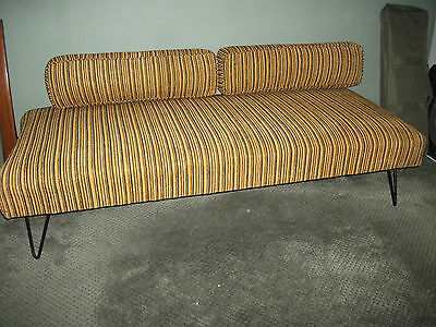 Mid century autumn orange stripe sofa, couch, daybed metal frame great condition