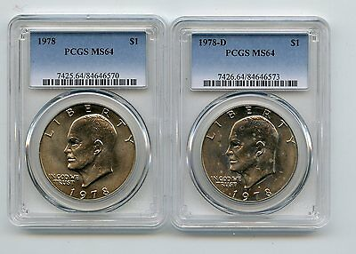 1978/1978-D Eisenhower Dollars (MS64) PCGS Two Coins