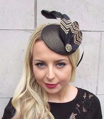 Black Gold Feather Pillbox Hat Fascinator Hair Clip Races Vintage Statement 3385