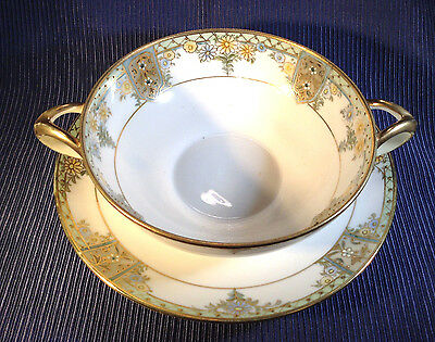 Nippon Noritake - Double Handled Bouillon Cup And Saucer - Hand Painted Gilding
