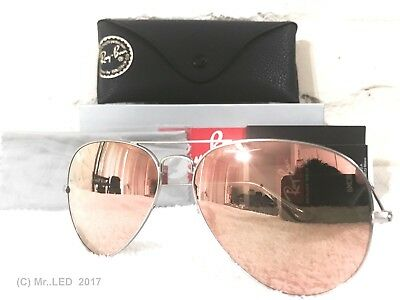 Ray Ban Aviator RB3025 019Z2 Silver Frame Rose Gold Copper Pink Mirror Lens 58mm