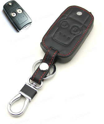 Leather Case Cover Holder For Honda CR-V City Civic Accord Acura Remote Flip Key