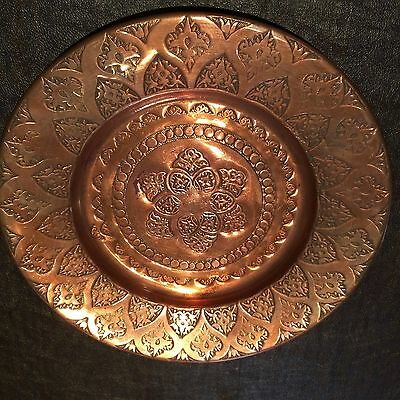 Turkish Handmade Copper Plate With Middle Eastern Pattern