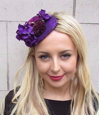 Dark Purple Rose Orchid Hydrangea Flower Fascinator Teardrop Races Wedding 3392