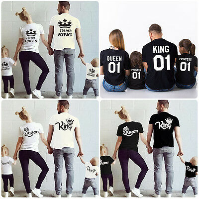 Family Outfit Clothes Fitted Cotton Summer Mom Dad Girl Boy Couple T-shirt Tops