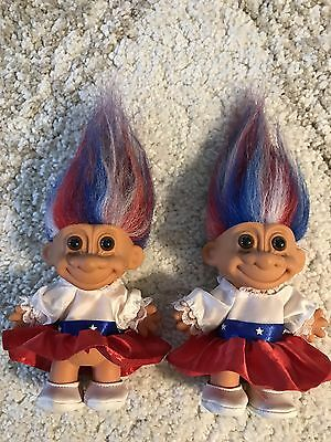 "Vintage Russ Troll Doll: USA Red White & Blue 5"" Patriotic 4th of July Twins Lot"