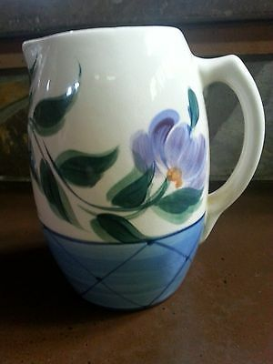 Gail Pittman Annabella Pottery Pitcher Blue Trellis Purple Red Flower Southern