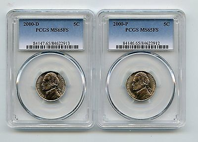 2000-D/2000-P Jefferson Nickels (MS65FS) PCGS Two Coins