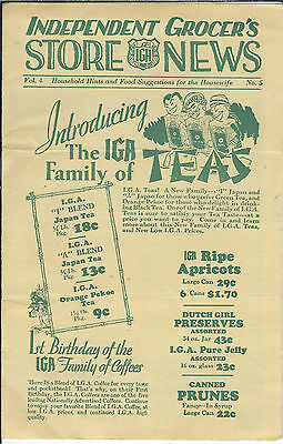MA-023 - IGA, Independent Grocer's Store News, 1930's-1950's Bettis Bolton Ohio