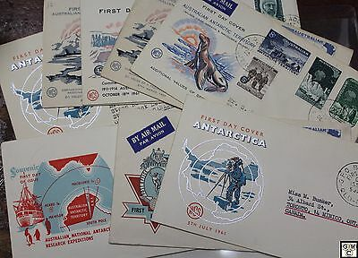Lot of Australia Antarctic Covers 7  1st day with Cachets & 6 with Stamps only