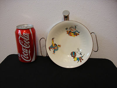 Vintage Colorful Child's Hot Water Heated Dish W/ Handled Chrome Base W/ Cap