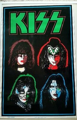 """New. 1992 Kiss """"four Faces"""" Black Light Poster. Free Shipping"""