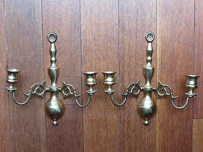 A Pair of Vintage Solid Brass Double Wall Sconce Candle Holders, ENGLAND