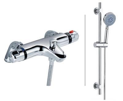 Bath Thermostatic Deck Mounted Shower Valve Mixer Tap Shower RailKit Chrome