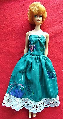 Vintage ~  Barbie's Stylish Green Strapless Dress With Sequins And Lace