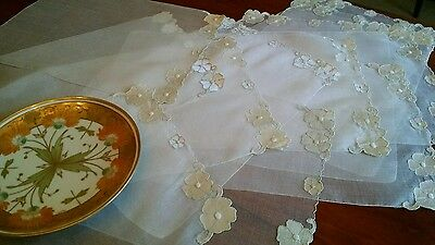 12 Vintage Organdy/Organza Floral Hand-made Placemats-Very Sheer & Delicate