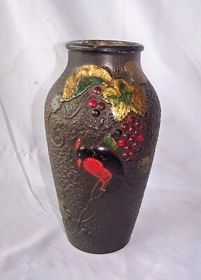 Vintage Black Goofus Glass Vase w Grape & Bird Motif