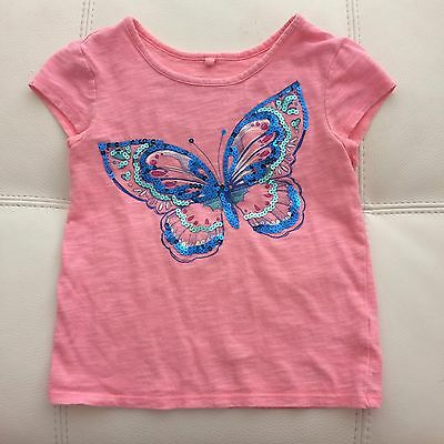 Justice size 6 Pink Butterfly Sequin Tee Top