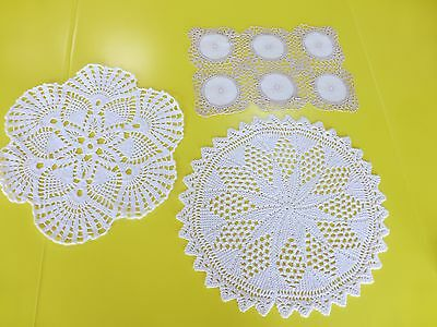Vintage Crochet Dollies Lot of 3   1 Rectangle, 2 Rounds   Beautiful