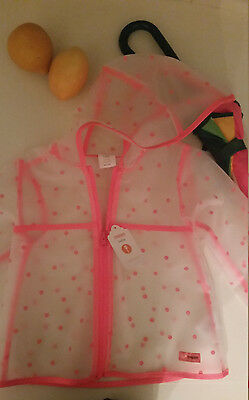 nwt Gymbore Baby Girl transparent hooded raincoat jacket pink dot 12-18 month