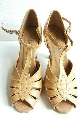 "Women's Salsa Ballroom Tango Leather Dance Shoes 2.5"" / 3"" Very Fine Size 5"