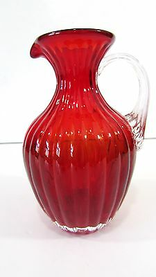 "PILGRIM  Ruby Red Glass 5"" Syrup Pitcher w/Clear Ribbed Applied Handle"