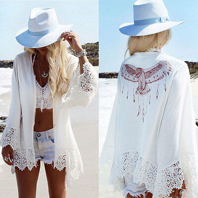 US Womens Bathing Suit Lace Up Crochet Bikini Cover Up Swimwear Summer Beach Top