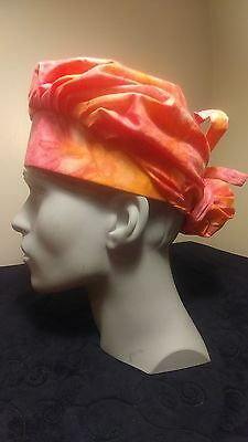 Pink Tie Dyed Surgical Scrub Hat Cap Bouffant Women Medical Handmade Adjustable