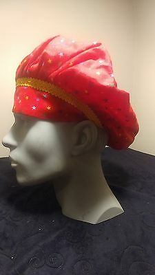 Stars Red Surgical Scrub Hat Cap Bouffant Women Medical Handmade Adjustable