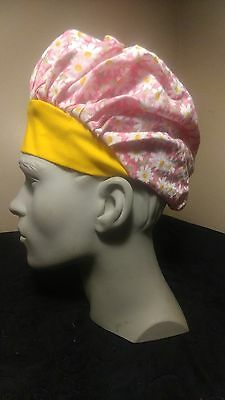 Daisies Yellow Surgical Scrub Hat Cap Bouffant Women Medical Handmade Adjustable
