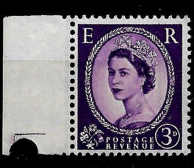 1958 (C132)  SG592A 3d  MISPLACED GRAPHITE LINE UNMOUNTED MINT 2 SCANS CAT £550.