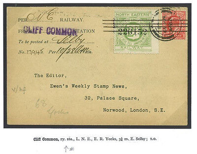 DBR43 1906 GB RAILWAY LETTER *Cliff Common Station* Yorks Per NERy Cover London