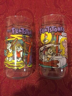 """The Flintstones """"The First 30 Years"""" Hardees Glasses (2) 1960 And 1964 Episodes"""